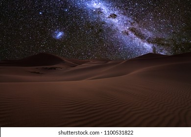 Amazing views of the Sahara desert under the night starry sky