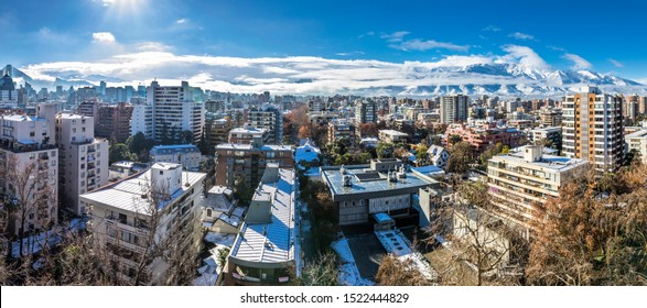 Amazing views of Santiago de Chile city with the Andes mountain range making an awesome horizon during the 15th July 2017 snowfall, the biggest snowfall in Santiago de Chile history in last decades