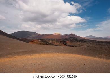 Amazing volcanic landscape and lava desert in Timanfaya national park, Lanzarote, canary islands, Spain.