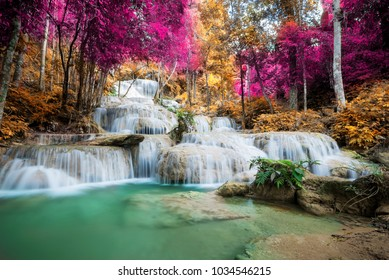Amazing waterfall at autumn forest