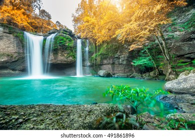 Amazing waterfall in autumn forest