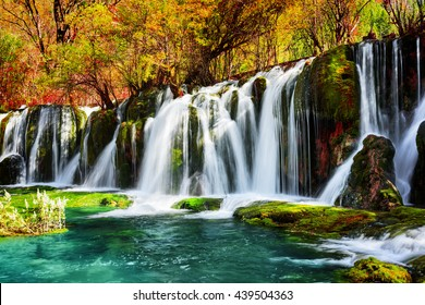 Amazing waterfall and azure lake with crystal clear water among fall woods in Jiuzhaigou nature reserve (Jiuzhai Valley National Park) of Sichuan province, China. Beautiful autumn forest landscape.