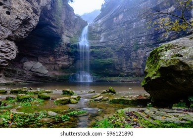 Amazing waterfall in Catalonia, La Foradada de Cantonigros (Spain)