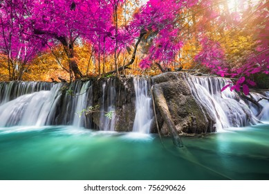 Amazing waterfall at colorful autumn forest