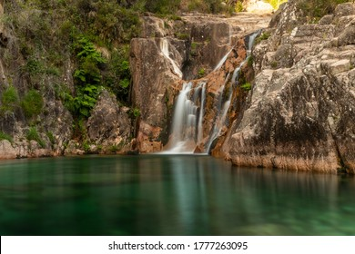 Amazing waterfall in the Peneda Gêres National Park , Terras de Bouro , Portugal