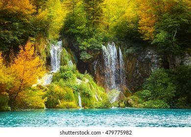 Amazing waterfall in Plitvice lake National Park, Croatia