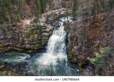 Amazing waterfall saut du doubs on the border of france and switzerland, panorama