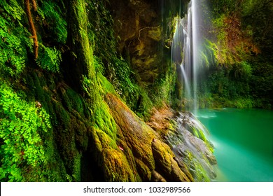 Amazing waterfalls among beautiful fresh greenery, Baakline is a beautiful picturesque Lebanese village in the Chouf District, famous touristic place