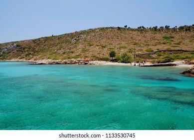 Amazing waters in Tiganakia beach of Lipsi island, Dodecanese, Greece 2017