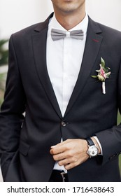 Amazing wedding details.  stylish groom. Close up portrait no face
