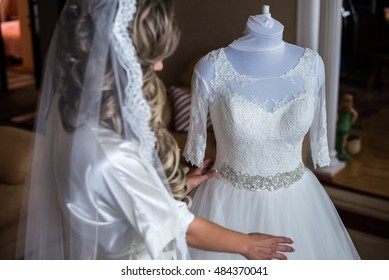 Amazing wedding dress on a mannequin.
