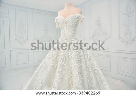 e8ba433306 Amazing Wedding Dress On Mannequin Stock Photo Edit Now 339402269