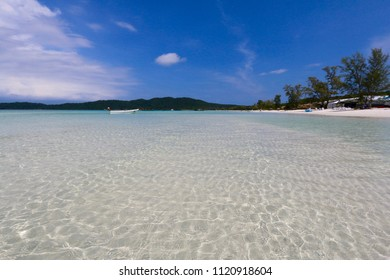 Amazing white beach with crystal sea, Koh Rong Samloem, Cambodia