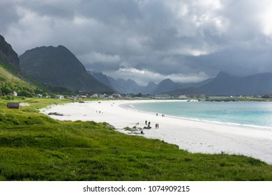 Amazing white beach near the sea in the Lofoten Islands, Norway