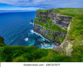Amazing wide angle view over the Cliffs of Moher in Ireland