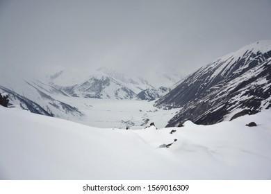 Amazing winter colors in Truso Valley. Wonderful region Kazbegi of country Georgia.