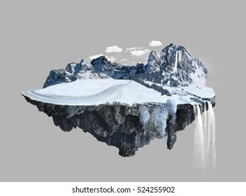 Amazing winter island with grove floating in the air with water fall and snow