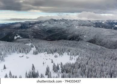 Amazing winter landscape of Rhodope Mountains near pamporovo resort, Smolyan Region, Bulgaria