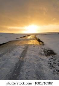 Amazing  winter sunrise, Iceland