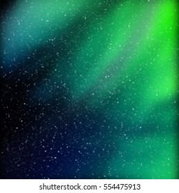 Amazingly beautiful colors of the Northern lights. Bright North star.
