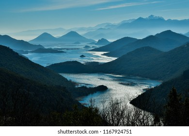 Amazingly Beautiful layers of mountains with Lake Skadar, shoot at Montenegro