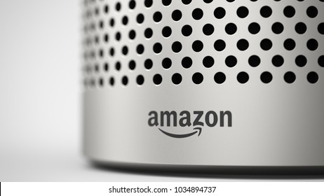 Amazon Echo 2ndgen  -silver -close up -bottom -front -right sided