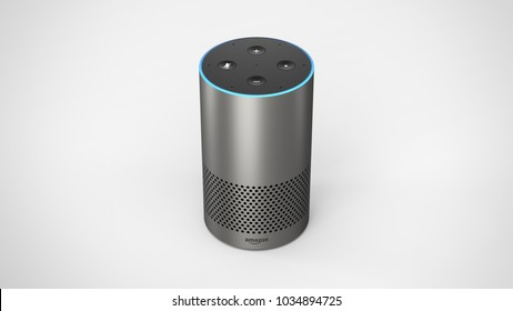 Amazon Echo 2ndgen -silver -total -top-front -centered