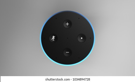 Amazon Echo 2ndgen -silver -total -top-straight -centered