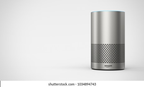 Amazon Echo 2ndgen -silver - total -front -right sided