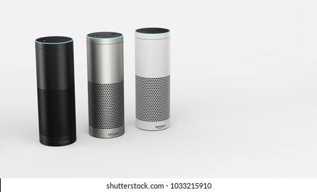 Amazon Echo Plus - black, silver & white -left sided