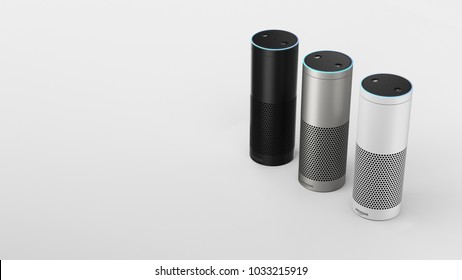 Amazon Echo Plus - black, silver & white - right sided