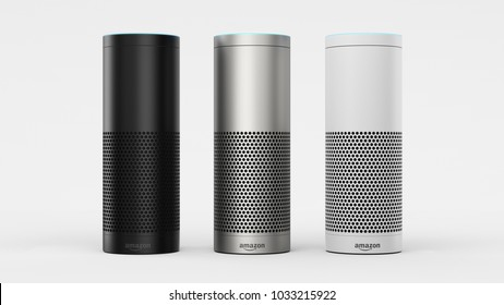 Amazon Echo Plus - black, silver & white - centered