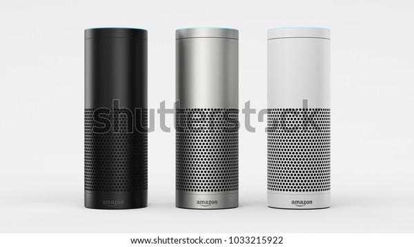 Amazon Echo Plus - black, silver & white - centered