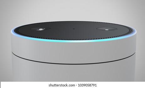Amazon Echo Plus -white -close up -top -centered