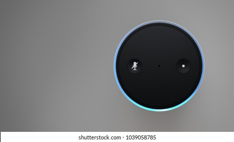 Amazon Echo Plus -white - top straight-right sided