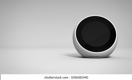 Amazon Echo Spot -white -total -front -right sided