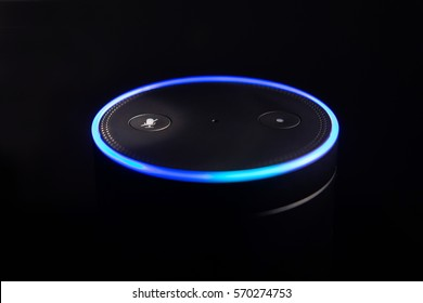 Amazon Echo voice recognition system selective focus dark backdrop and exposure for impact of light ring