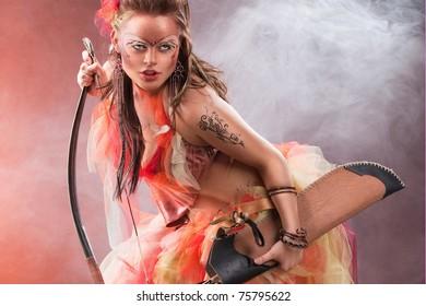 Amazon Girl Creative Bodyart Faceart Bow Stock Photo Edit Now 75795622