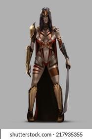 Amazon Queen. Amazon queen standing in armor and sword.