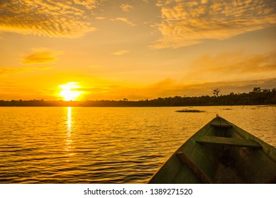 Amazon river, Amazonas, Brazil: Beautiful sunrise on the Amazon river. landscape with a view of the river and the sky.