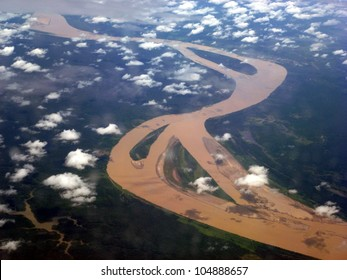 The Amazon River in Brazil, seen from an airplane