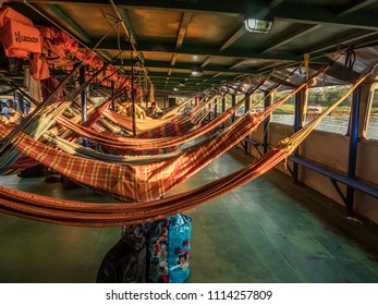 Amazon River, Peru - March 25, 2018: Beautiful, colorful hammocks on the cargo boat