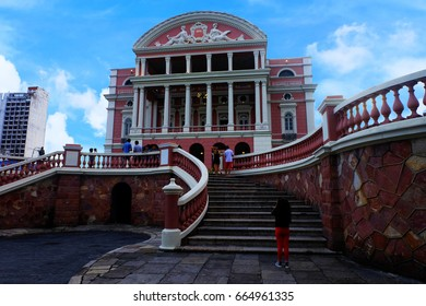 Amazon Theater Manaus 18-June-2017: the Amazon Theater Manaus ( Opera House)  built in 1896,Amazons Theater viewpoint of Manaus Brazil, The most popular of tourism to take photo at viewpoint here.