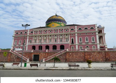 The Amazon Theater Manaus, famous landmark of the capital of the state of Amazonas, Brazil - built in 1896, during the time of the rubber barons