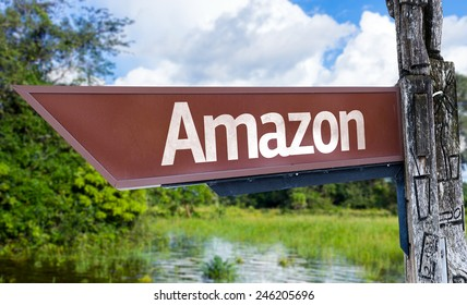 Amazon wooden sign with a forest background