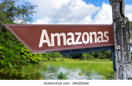 Amazonas wooden sign with a forest background