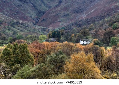 Amazone scottish landscape with farmhouse in Glencoe, Highlands, Scotland