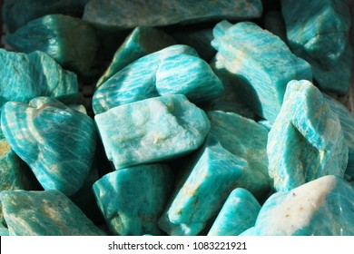 amazonite mineral collection as very nice background