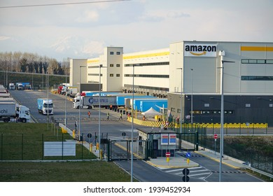 Amazon's largest distribution centre in Piedmont. Torrazza, Italy - March 2021
