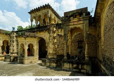 Ambad Jalna Maharashtra India September 24 2012  Courtyard of Khandoba temple and two deep Jyoti stambh(pillar)